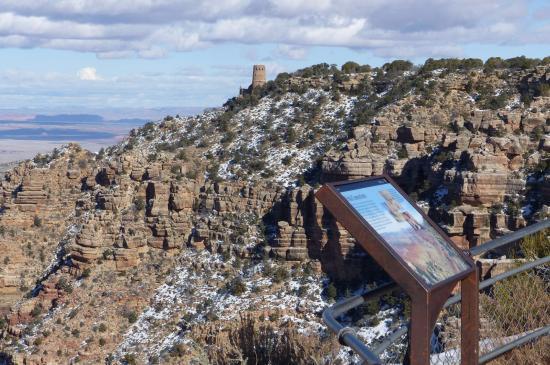 View Of The Desert View Watchtower From Navajo Point Bild Von