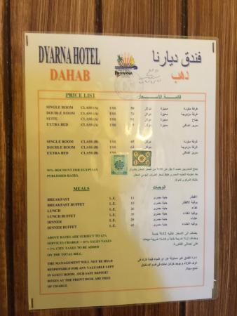 Dyarna Hotel: Price List of room was on the back of the door