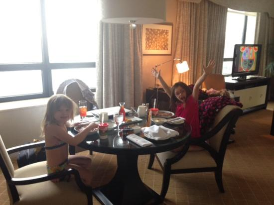 """The Ritz-Carlton, Chicago: Our girls first """"room service"""" breakfast--afterwards they wanted to live there!"""