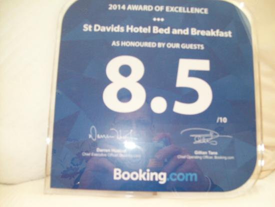 St Davids Hotel: booking.com rating