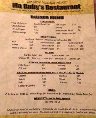 Ma Ruby's Restaurant: Menu