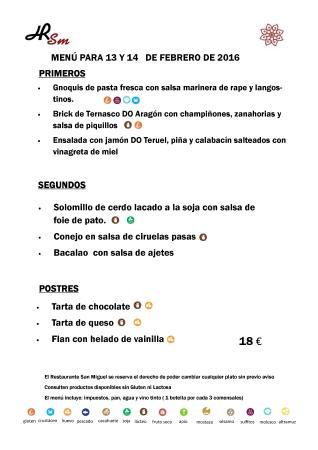 Fuentes de Ebro, Spanyol: Menú para el fin de semana del 13 y 14 de Febrero de 2016