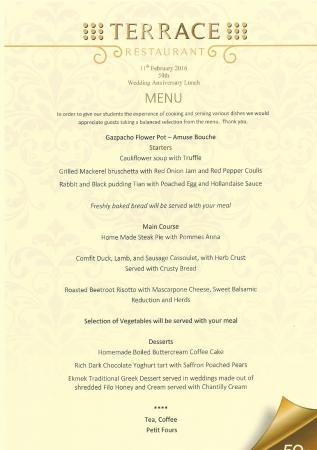 Our menu for the day bild von terrace restaurant for The terrace restaurant menu