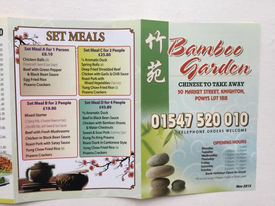 Takeaway was excellent! - Review of Bamboo Garden, Knighton, Wales ...