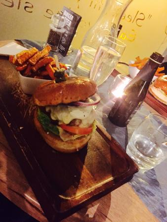 The Grove: The amazing pork burger with sweet potato fries! Mouth watering meal!