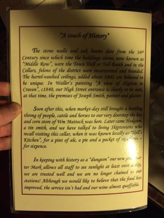 This photo is of the written description of the history of Le Caveau.