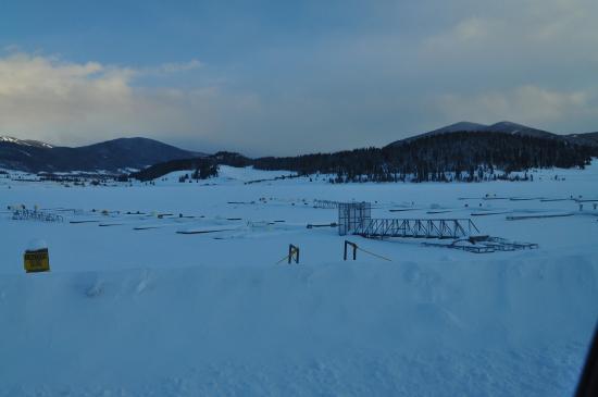 Dillon, CO: View of frozen marina