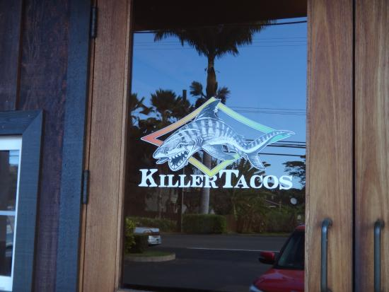 Killer Tacos Incorporated: Entry door sign