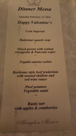 Abingdon Manor Inn and Restaurant: menu