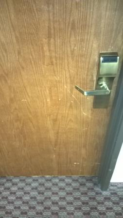 Super 8 Yuma: Scratches on typical guest room door.
