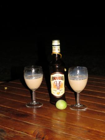 Lower Sabie Restcamp: Had a marula tree growing through our deck so had to sample the local liqueur!