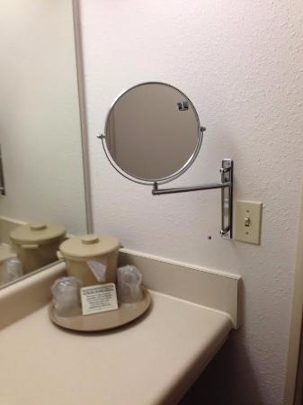 Vance, AL: Movable makeup mirror that swings and has two sides.