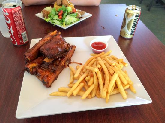 Luquillo Beach BBQ: pig wings and mofongo