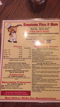 Jones Mills, Pensilvanya: Menu and interior of Hometown Pizza