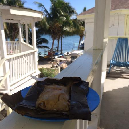 Costa Maya Beach Cabanas: Tamales on my balcony (room #8)
