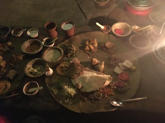 Vishalla: The vegetarian thali served on a banana leaf plate.