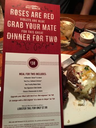 ribeye was amazing picture of outback steakhouse el paso tripadvisor tripadvisor