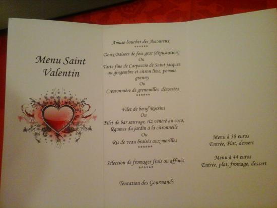 Les Sources: le menu du jour (St Valentin)