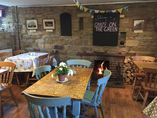 Graze on the Green: A warm fire in our tearoom