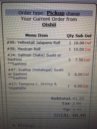 Oishii: Online ordering