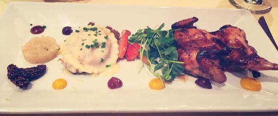 Mark's American Cuisine: duck ravioli and quail was good
