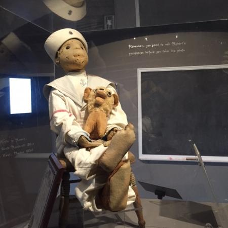 Fort East Martello Museum : Robert is a Steiff doll, originally dressed as a clown but now in Gene Otto's sailor suit.
