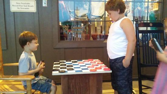 Altoona, PA: Kids playing giant checkers outside of cracker barrel