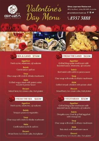Valentines Day Menu Options Picture Of Ginza Japanese Restaurant