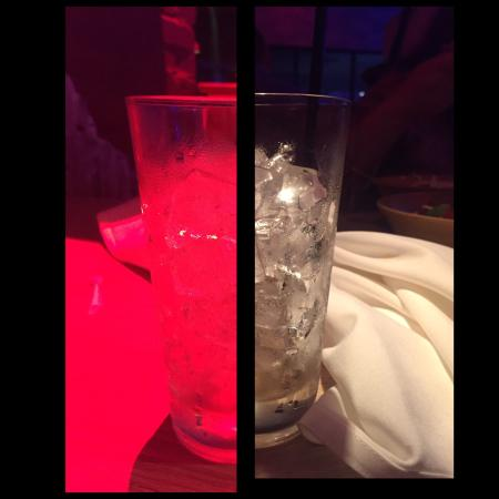 Moon Thai & Japanese: Photo contrasting an empty glass under the light and in normal light