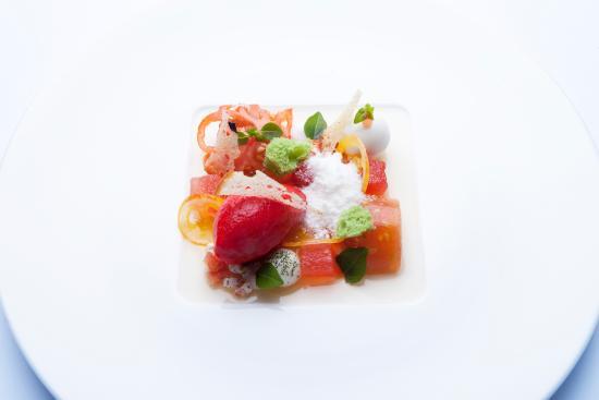 Tiger-Gourmetrestaurant: Strauchtomate – à la Caprese Arbequina Olivenöl I Burrata  I Basilikum I Mojoemulsion