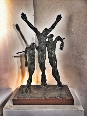 St Bene't's Church (Church of England): Bronze maquette of The Crucifixion by Enzo Plazzotta. The full-sized statue is in Westminster.