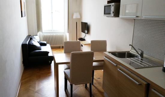 Bohemia Apartments Prague Old Town Le Salon Qui Fait Salle à Manger Et Cuisine Très