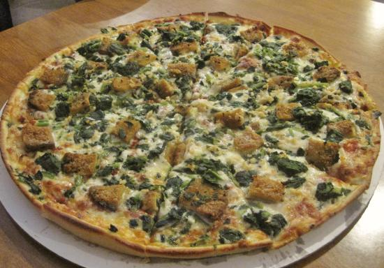 Spencer, MA: Best pizza combo ever:  spinach, fried eggplant and garlic.