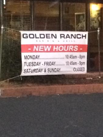 Golden Ranch BBQ & GRILL : New hours!