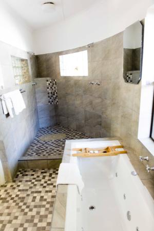 Room for two in bath and a his and hers shower