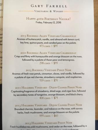 Gary Farrell Winery: Menu