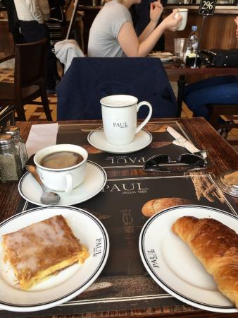 Paul Mille Feuille And Croissant With Coffee Cuccino