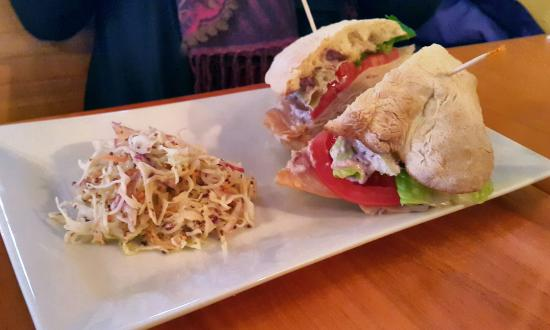 Mia's Cafe : Turkey sandwich on homemade bun with excellent coleslaw