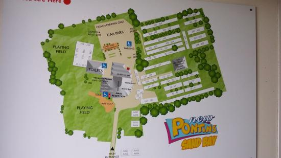 Pontins Sand Bay Holiday Park: Handy map, located inside main reception, on the wall by door!