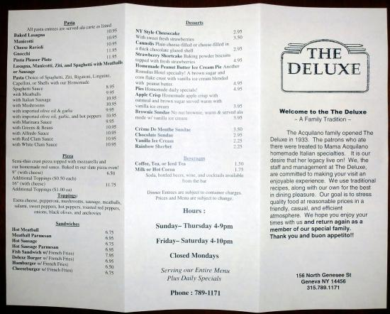 The Deluxe Bar and Grill: menu 2/2016