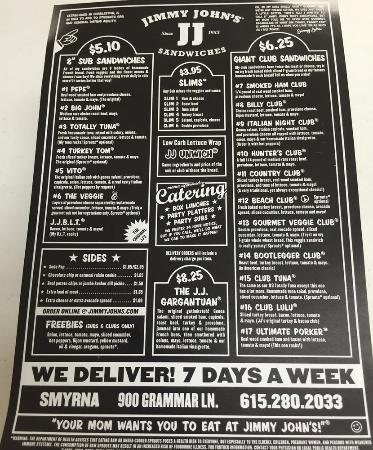 picture relating to Jimmy Johns Menu Printable called jimmy johns menu freebies