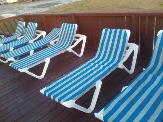 El Caribe Resort & Conference Center: Lounge Chairs flanking the north pool at the El Caribe Resort in Daytona Beach