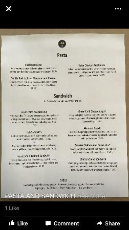 Kaya Island Eats: Pasta and Sandwich Menu