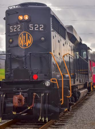 Oak Ridge, TN: Fully restored classic desiel locomotive with Norfork and Western logo
