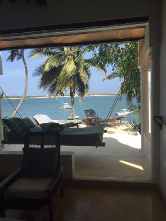 Peponi Hotel: Terrace, Hammock, Loungers and overlooking Sea and Peponi Boats Room 17