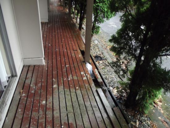 Travellers International Hotel: The deck outside our room, not in a very good state of repair!