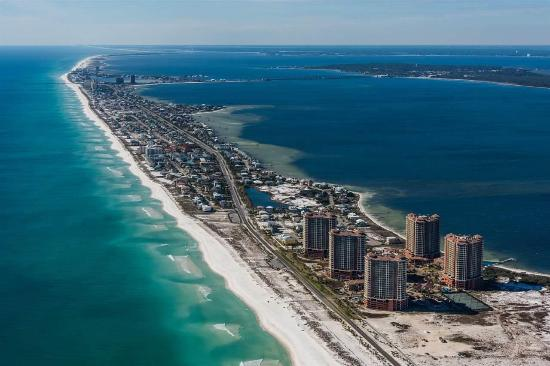 Ariel View Of Pensacola Beach And Portofino Resort