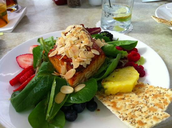 The Turtle Club Restaurant: Grilled Salmon over salad with fruit