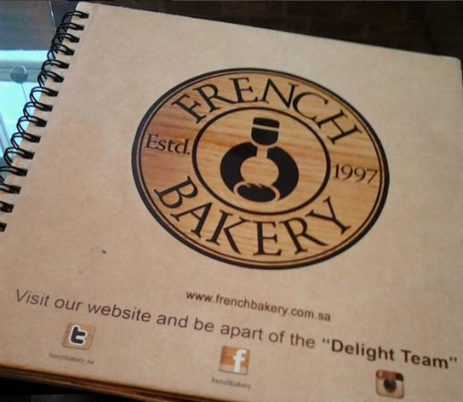 French Bakery: menu book