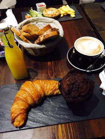 French Bakery: croissant, chocolate muffin, quiche, orange juice, cappuccino